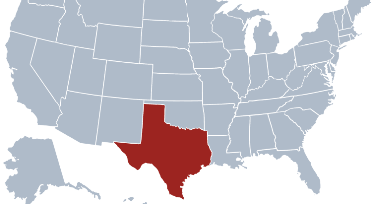 Texas highlighted on map